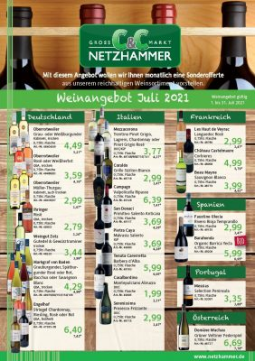 Angebot Wein des Monats Juli 2021